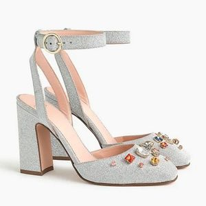 J CREW New Harlow Ankle Strap Pumps Block Heels 10